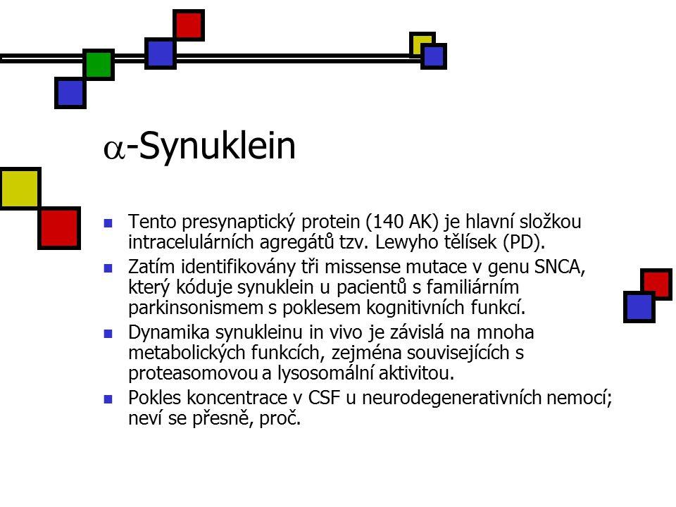  -Synuklein Tento presynaptický protein (140 AK) je hlavní složkou intracelulárních agregátů tzv.