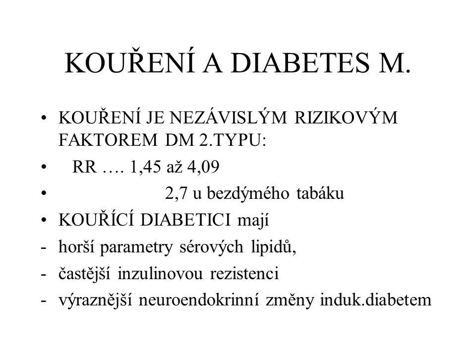 KOUŘENÍ A DIABETES M. KOUŘENÍ JE NEZÁVISLÝM RIZIKOVÝM FAKTOREM DM 2.TYPU: RR …. 1,45 až 4,09 2,7 u bezdýmého tabáku KOUŘÍCÍ DIABETICI mají -horší para