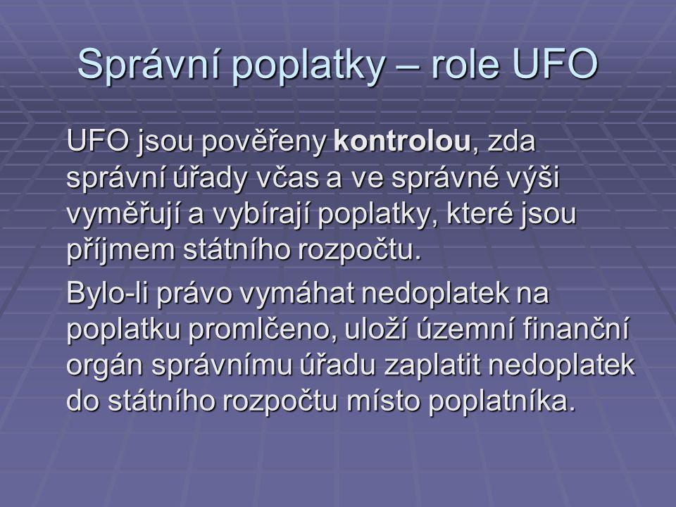 Správní poplatky – role UFO UFO jsou pověřeny kontrolou, zda správní úřady včas a ve správné výši vyměřují a vybírají poplatky, které jsou příjmem stá