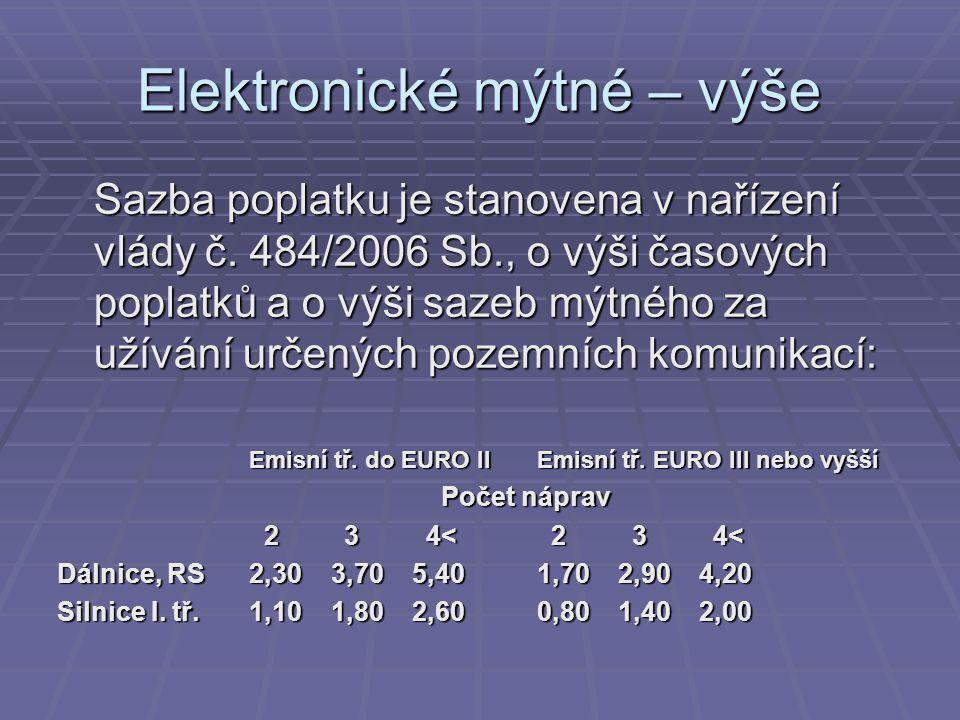 Elektronické mýtné – výše Sazba poplatku je stanovena v nařízení vlády č. 484/2006 Sb., o výši časových poplatků a o výši sazeb mýtného za užívání urč