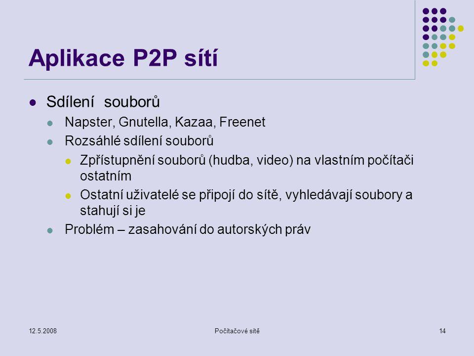12.5.2008Počítačové sítě14 Aplikace P2P sítí Sdílení souborů Napster, Gnutella, Kazaa, Freenet Rozsáhlé sdílení souborů Zpřístupnění souborů (hudba, video) na vlastním počítači ostatním Ostatní uživatelé se připojí do sítě, vyhledávají soubory a stahují si je Problém – zasahování do autorských práv