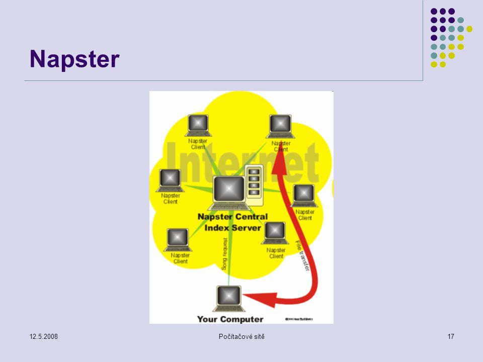 12.5.2008Počítačové sítě17 Napster
