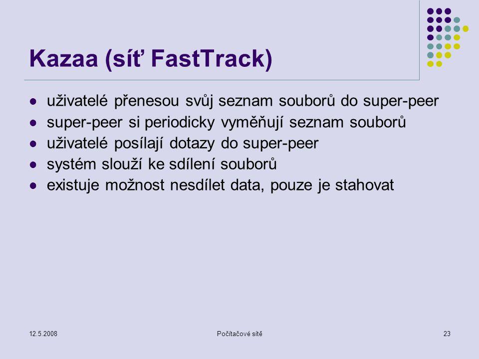 12.5.2008Počítačové sítě23 Kazaa (síť FastTrack) uživatelé přenesou svůj seznam souborů do super-peer super-peer si periodicky vyměňují seznam souborů uživatelé posílají dotazy do super-peer systém slouží ke sdílení souborů existuje možnost nesdílet data, pouze je stahovat