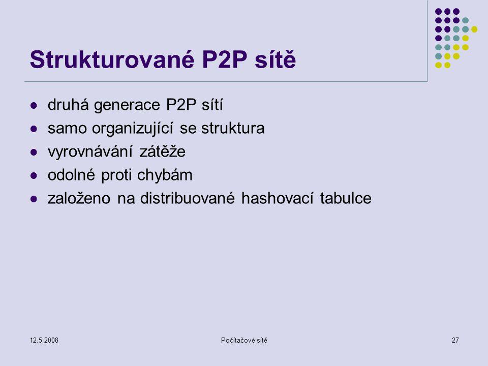 12.5.2008Počítačové sítě27 Strukturované P2P sítě druhá generace P2P sítí samo organizující se struktura vyrovnávání zátěže odolné proti chybám založeno na distribuované hashovací tabulce