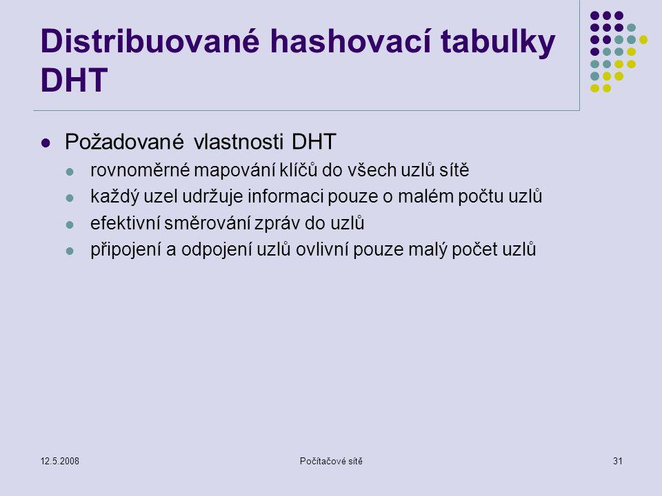 12.5.2008Počítačové sítě31 Distribuované hashovací tabulky DHT Požadované vlastnosti DHT rovnoměrné mapování klíčů do všech uzlů sítě každý uzel udržuje informaci pouze o malém počtu uzlů efektivní směrování zpráv do uzlů připojení a odpojení uzlů ovlivní pouze malý počet uzlů