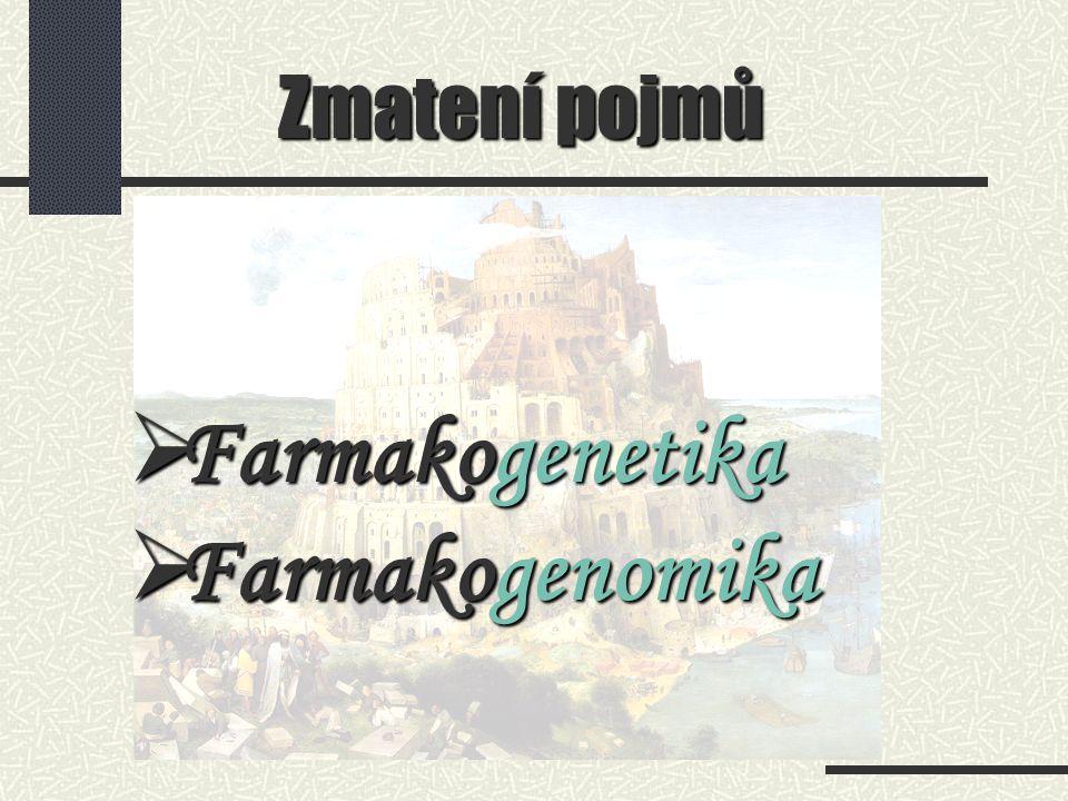 Zmatení pojmů  Farmakogenetika  Farmakogenomika