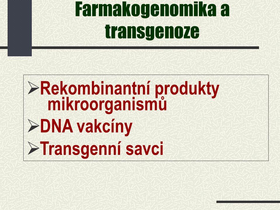 Farmakogenomika a transgenoze   Rekombinantní produkty mikroorganismů   DNA vakcíny   Transgenní savci