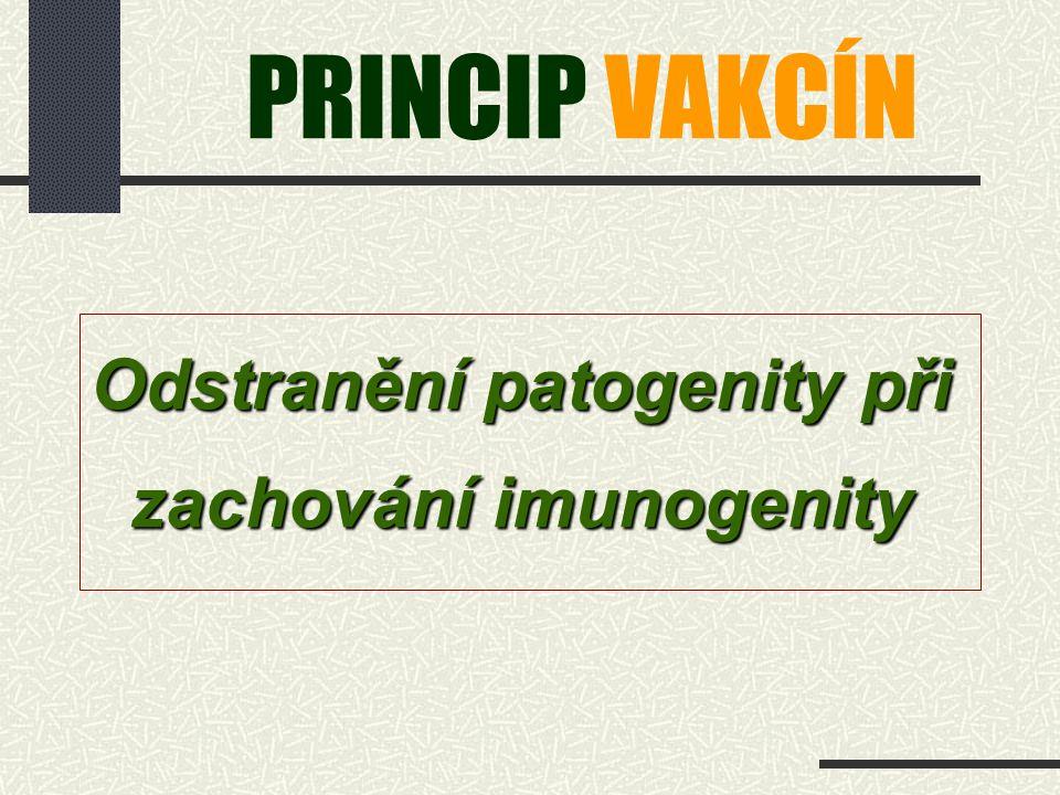 PRINCIP VAKCÍN Odstranění patogenity při zachování imunogenity