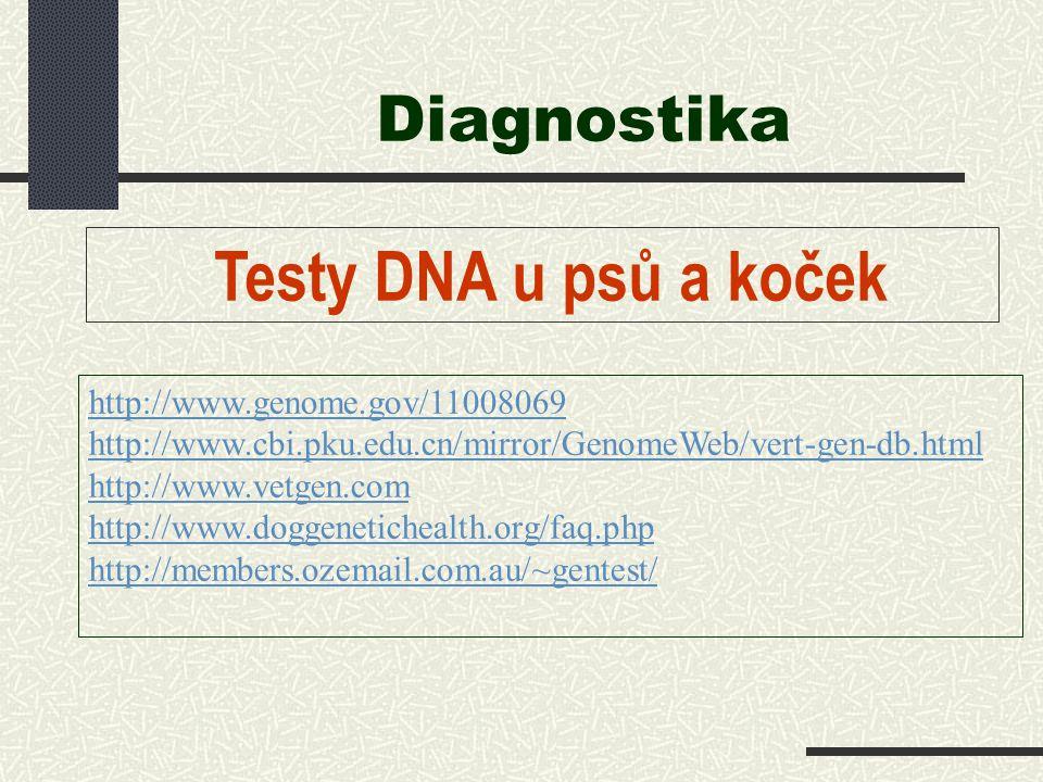 Diagnostika Testy DNA u psů a koček http://www.genome.gov/11008069 http://www.cbi.pku.edu.cn/mirror/GenomeWeb/vert-gen-db.html http://www.vetgen.com h