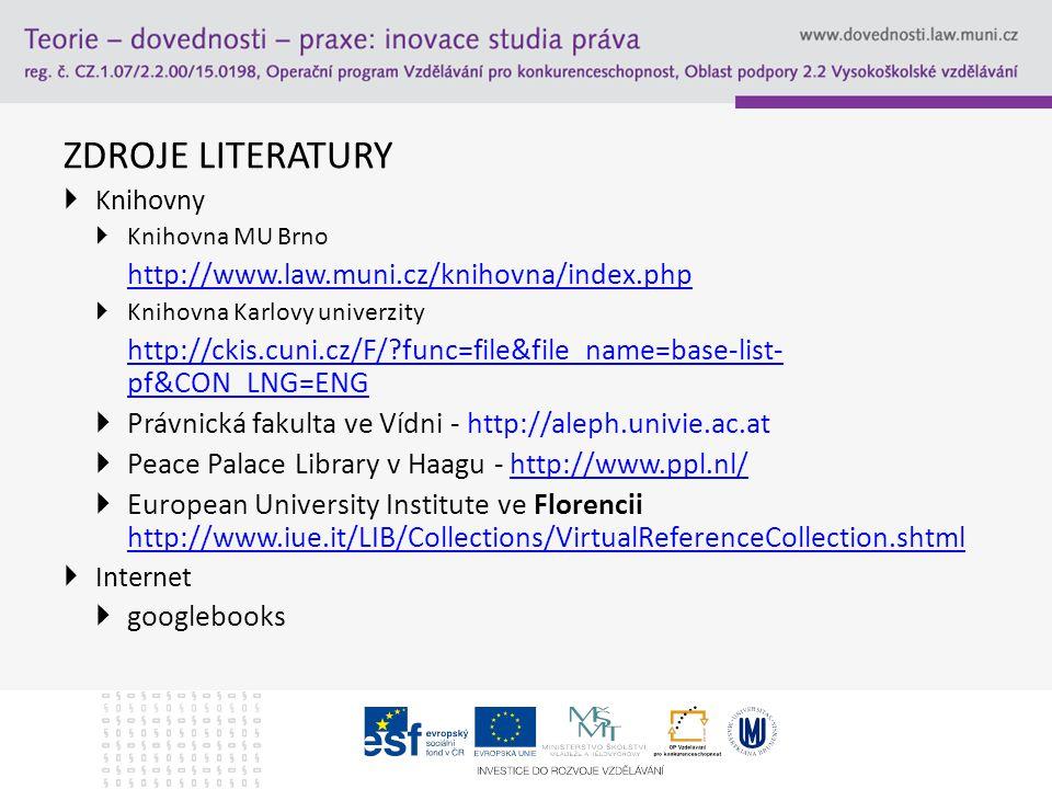 ZDROJE LITERATURY  Knihovny  Knihovna MU Brno http://www.law.muni.cz/knihovna/index.php  Knihovna Karlovy univerzity http://ckis.cuni.cz/F/ func=file&file_name=base-list- pf&CON_LNG=ENG  Právnická fakulta ve Vídni - http://aleph.univie.ac.at  Peace Palace Library v Haagu - http://www.ppl.nl/http://www.ppl.nl/  European University Institute ve Florencii http://www.iue.it/LIB/Collections/VirtualReferenceCollection.shtml http://www.iue.it/LIB/Collections/VirtualReferenceCollection.shtml  Internet  googlebooks