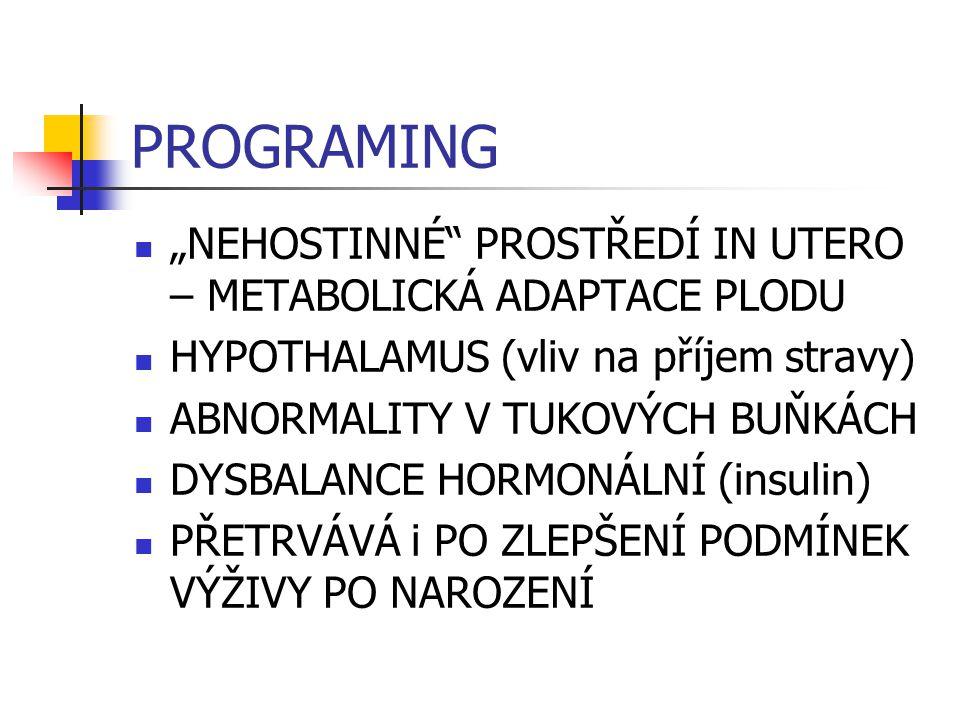 """PROGRAMING """"NEHOSTINNÉ"""" PROSTŘEDÍ IN UTERO – METABOLICKÁ ADAPTACE PLODU HYPOTHALAMUS (vliv na příjem stravy) ABNORMALITY V TUKOVÝCH BUŇKÁCH DYSBALANCE"""