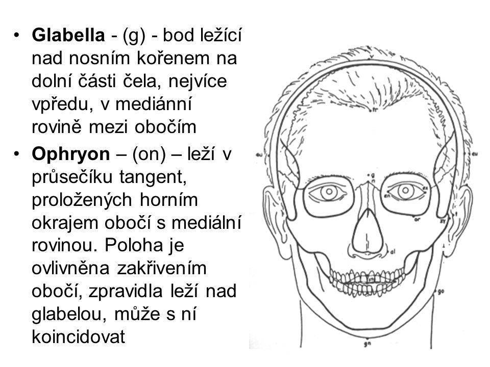 Glabella - (g) - bod ležící nad nosním kořenem na dolní části čela, nejvíce vpředu, v mediánní rovině mezi obočím Ophryon – (on) – leží v průsečíku ta