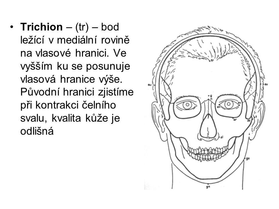 Trichion – (tr) – bod ležící v mediální rovině na vlasové hranici. Ve vyšším ku se posunuje vlasová hranice výše. Původní hranici zjistíme při kontrak