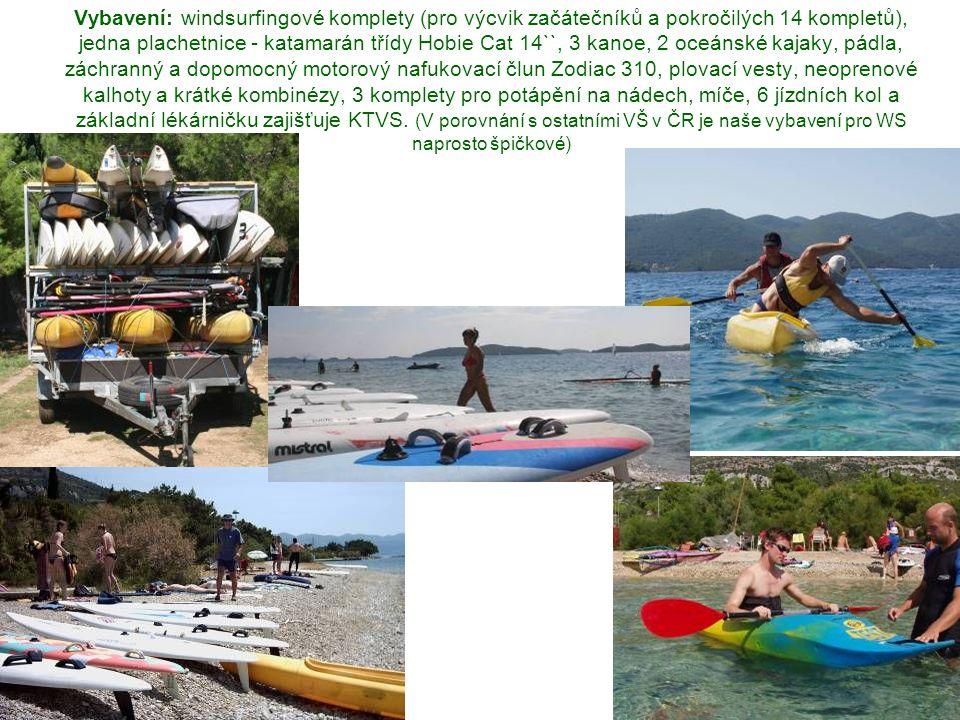 Vybavení: windsurfingové komplety (pro výcvik začátečníků a pokročilých 14 kompletů), jedna plachetnice - katamarán třídy Hobie Cat 14``, 3 kanoe, 2 oceánské kajaky, pádla, záchranný a dopomocný motorový nafukovací člun Zodiac 310, plovací vesty, neoprenové kalhoty a krátké kombinézy, 3 komplety pro potápění na nádech, míče, 6 jízdních kol a základní lékárničku zajišťuje KTVS.