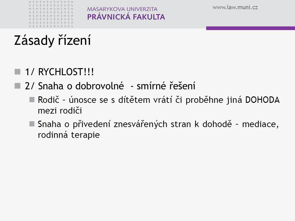 www.law.muni.cz Zásady řízení 1/ RYCHLOST!!! 2/ Snaha o dobrovolné - smírné řešení Rodič – únosce se s dítětem vrátí či proběhne jiná DOHODA mezi rodi