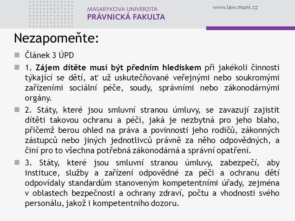www.law.muni.cz Nezapomeňte: Článek 3 ÚPD 1. Zájem dítěte musí být předním hlediskem při jakékoli činnosti týkající se dětí, ať už uskutečňované veřej