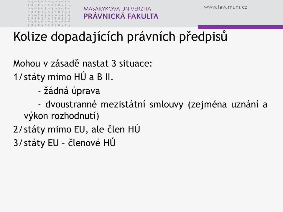 www.law.muni.cz Kolize dopadajících právních předpisů Mohou v zásadě nastat 3 situace: 1/státy mimo HÚ a B II. - žádná úprava - dvoustranné mezistátní