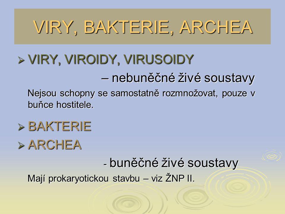 VIRY  Mikroskopická velikost 15 – 390 nm  Nemají vlastní metabolismus  Rozmnožování jen v buňce hostitele  VIRION – jednotlivá částice viru schopná infikovat buňku * nukleová kyselina * nukleová kyselina DNA nebo RNA DNA nebo RNA * bílkovinný kapsid * bílkovinný kapsid