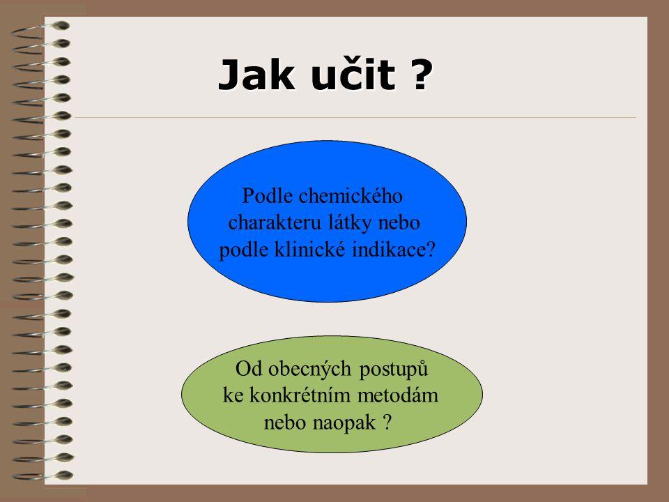 Podle chemického charakteru látky nebo podle klinické indikace.