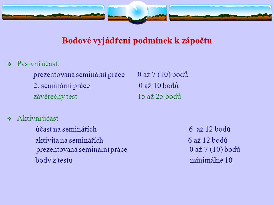 Bodové vyjádření podmínek k zápočtu  Pasivní účast: prezentovaná seminární práce 0 až 7 (10) bodů 2. seminární práce 0 až 10 bodů závěrečný test 15 a