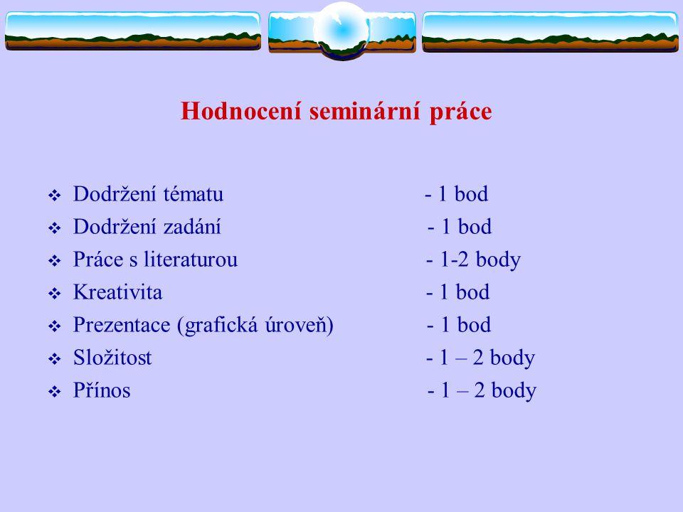 Hodnocení seminární práce  Dodržení tématu - 1 bod  Dodržení zadání - 1 bod  Práce s literaturou - 1-2 body  Kreativita - 1 bod  Prezentace (graf