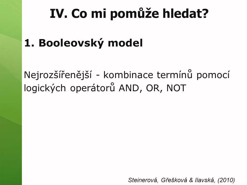 IV. Co mi pomůže hledat? 1. Booleovský model Nejrozšířenější - kombinace termínů pomocí logických operátorů AND, OR, NOT Steinerová, Gřešková & Ilavsk