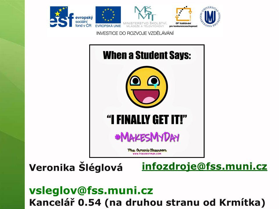 infozdroje@fss.muni.cz Veronika Šléglová vsleglov@fss.muni.cz Kancelář 0.54 (na druhou stranu od Krmítka)