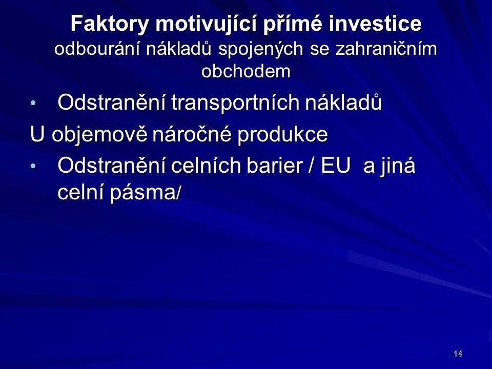 Faktory motivující přímé investice odbourání nákladů spojených se zahraničním obchodem Odstranění transportních nákladů Odstranění transportních nákladů U objemově náročné produkce Odstranění celních barier / EU a jiná celní pásma / Odstranění celních barier / EU a jiná celní pásma / 14