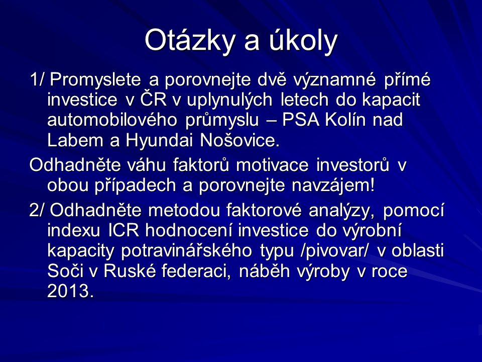 Otázky a úkoly 1/ Promyslete a porovnejte dvě významné přímé investice v ČR v uplynulých letech do kapacit automobilového průmyslu – PSA Kolín nad Labem a Hyundai Nošovice.