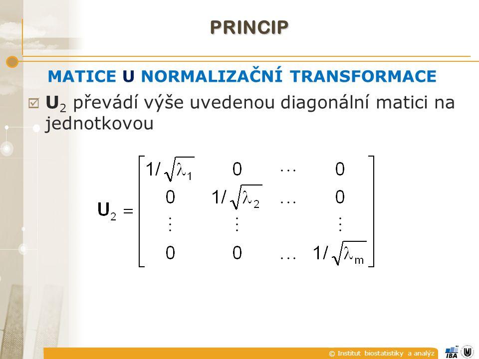 © Institut biostatistiky a analýz MATICE U NORMALIZAČNÍ TRANSFORMACE  U 2 převádí výše uvedenou diagonální matici na jednotkovou PRINCIP