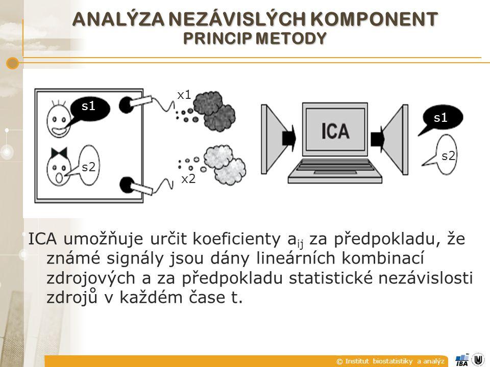 © Institut biostatistiky a analýz ANALÝZA NEZÁVISLÝCH KOMPONENT PRINCIP METODY ICA umožňuje určit koeficienty a ij za předpokladu, že známé signály jsou dány lineárních kombinací zdrojových a za předpokladu statistické nezávislosti zdrojů v každém čase t.