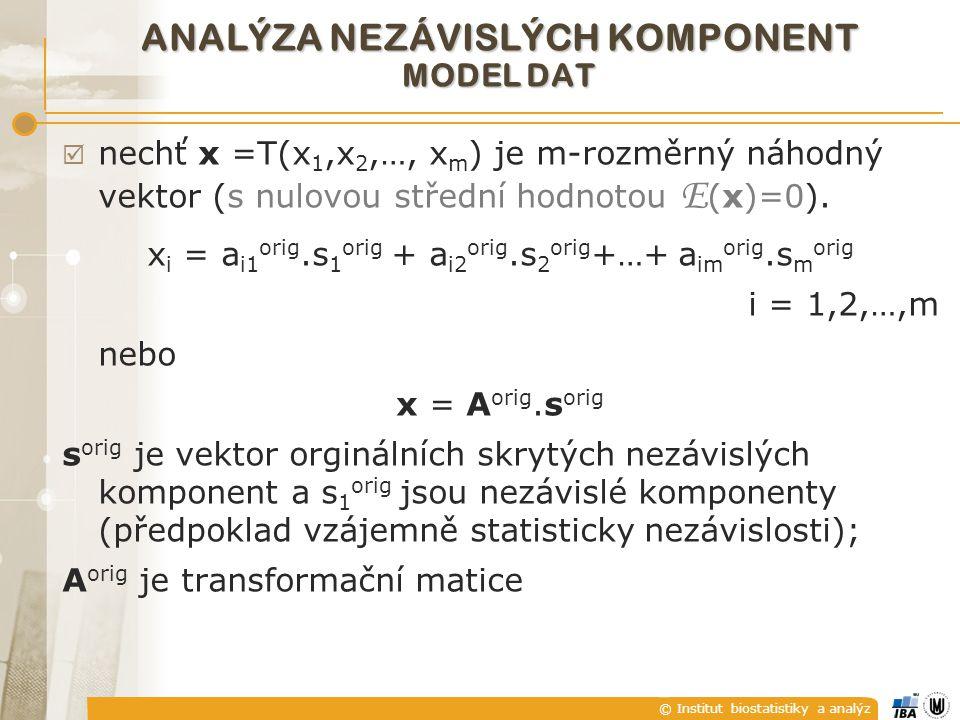 © Institut biostatistiky a analýz  nechť x =T(x 1,x 2,…, x m ) je m-rozměrný náhodný vektor (s nulovou střední hodnotou E (x)=0). x i = a i1 orig.s 1