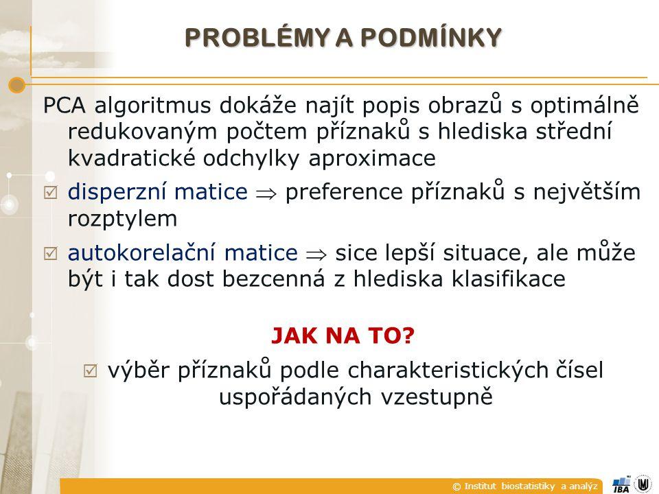 © Institut biostatistiky a analýz PROBLÉMY A PODMÍNKY PCA algoritmus dokáže najít popis obrazů s optimálně redukovaným počtem příznaků s hlediska stře