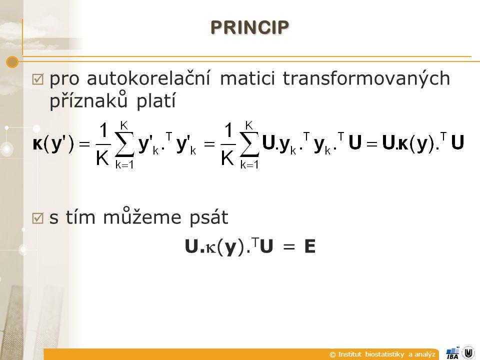 © Institut biostatistiky a analýz PRINCIP  pro autokorelační matici transformovaných příznaků platí  s tím můžeme psát U.(y). T U = E