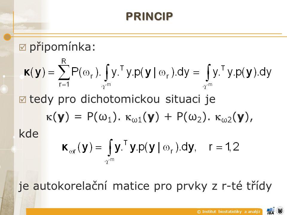 © Institut biostatistiky a analýz PRINCIP  připomínka:  tedy pro dichotomickou situaci je (y) = P(ω 1 ).