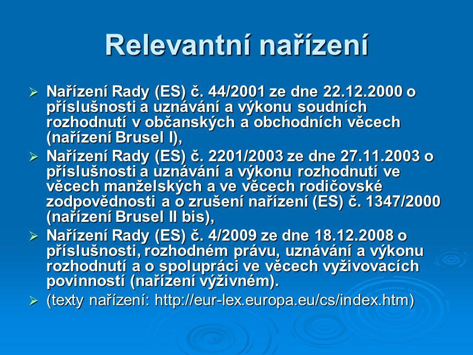 Relevantní nařízení  Nařízení Rady (ES) č.