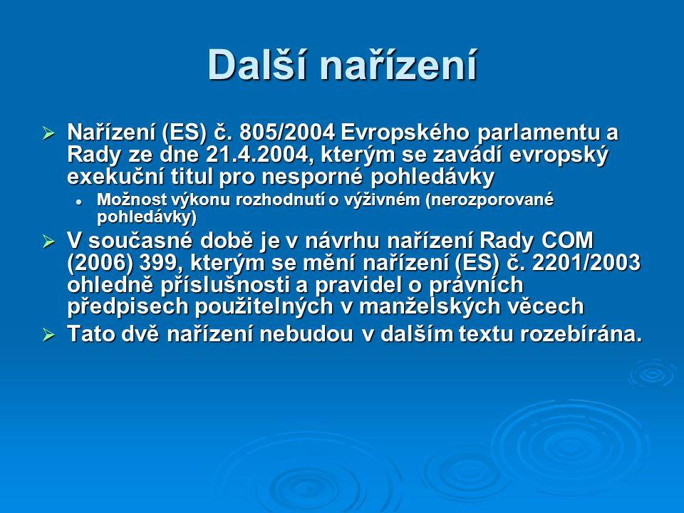 Další nařízení  Nařízení (ES) č.