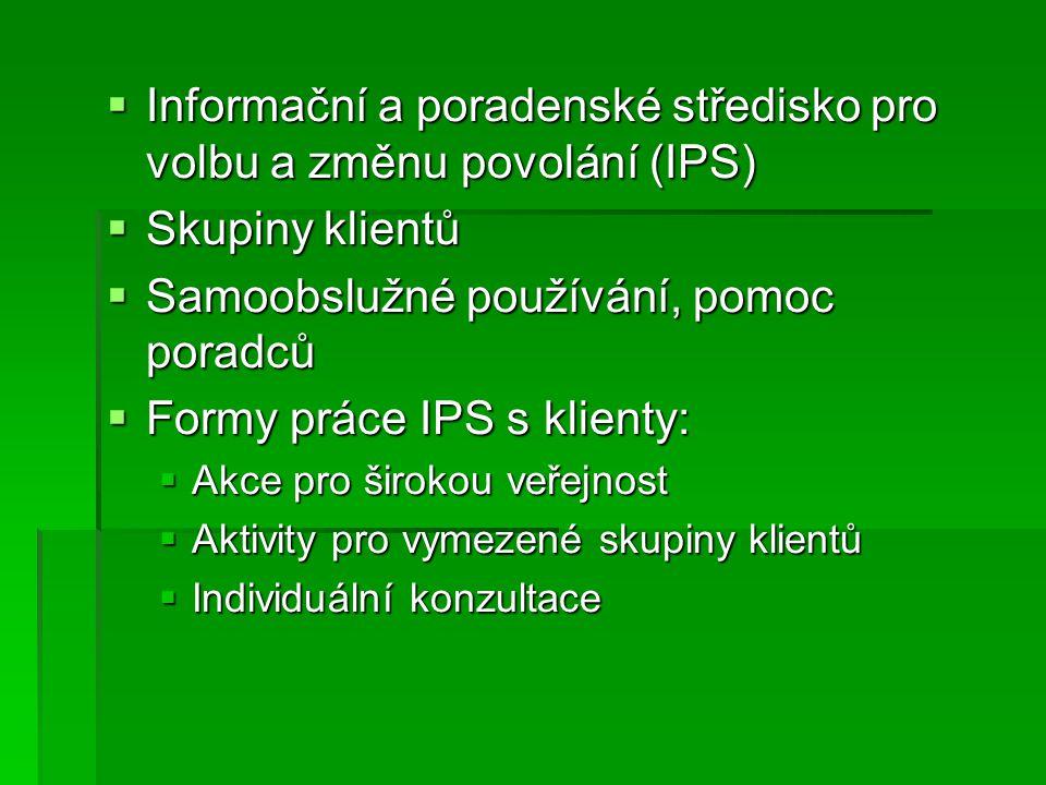  Informační a poradenské středisko pro volbu a změnu povolání (IPS)  Skupiny klientů  Samoobslužné používání, pomoc poradců  Formy práce IPS s klienty:  Akce pro širokou veřejnost  Aktivity pro vymezené skupiny klientů  Individuální konzultace