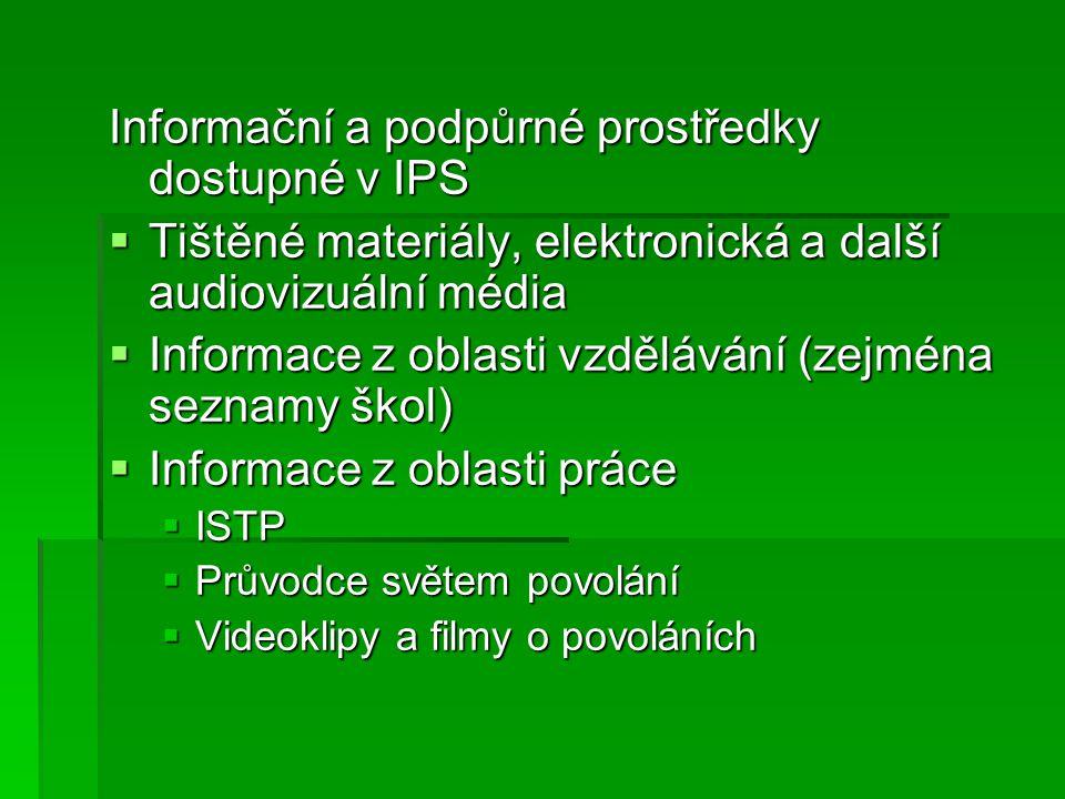 Informační a podpůrné prostředky dostupné v IPS  Tištěné materiály, elektronická a další audiovizuální média  Informace z oblasti vzdělávání (zejména seznamy škol)  Informace z oblasti práce  ISTP  Průvodce světem povolání  Videoklipy a filmy o povoláních
