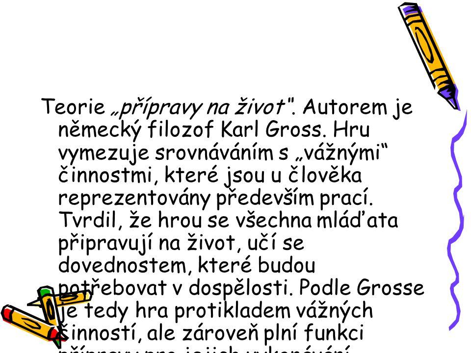 """Teorie """"přípravy na život .Autorem je německý filozof Karl Gross."""