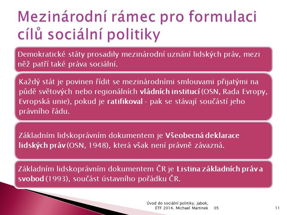 Demokratické státy prosadily mezinárodní uznání lidských práv, mezi něž patří také práva sociální.
