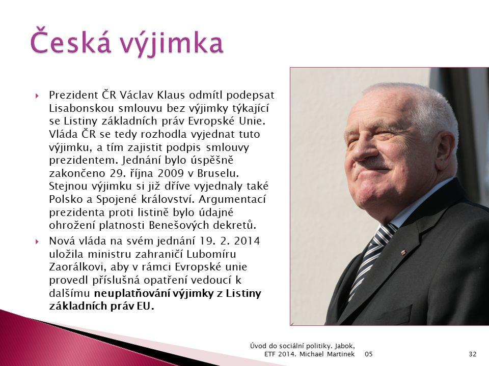  Prezident ČR Václav Klaus odmítl podepsat Lisabonskou smlouvu bez výjimky týkající se Listiny základních práv Evropské Unie.