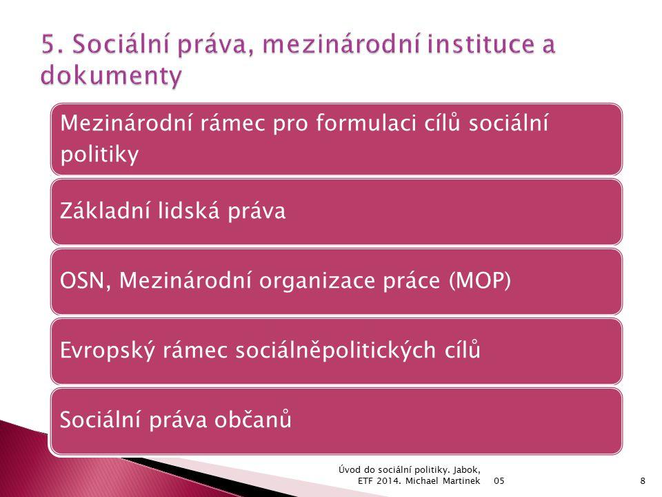 05 Úvod do sociální politiky.Jabok, ETF 2014.