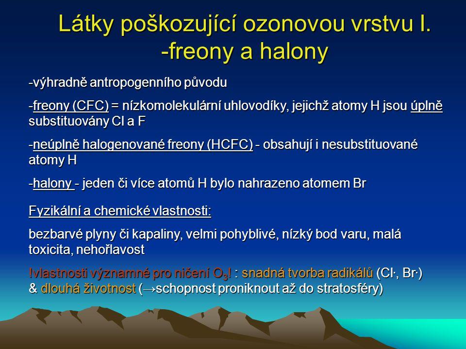 Látky poškozující ozonovou vrstvu I. -freony a halony -výhradně antropogenního původu -freony (CFC) = nízkomolekulární uhlovodíky, jejichž atomy H jso