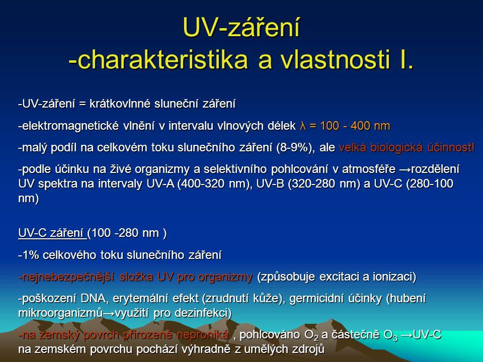 UV-záření -charakteristika a vlastnosti I. -UV-záření = krátkovlnné sluneční záření -elektromagnetické vlnění v intervalu vlnových délek λ = 100 - 400