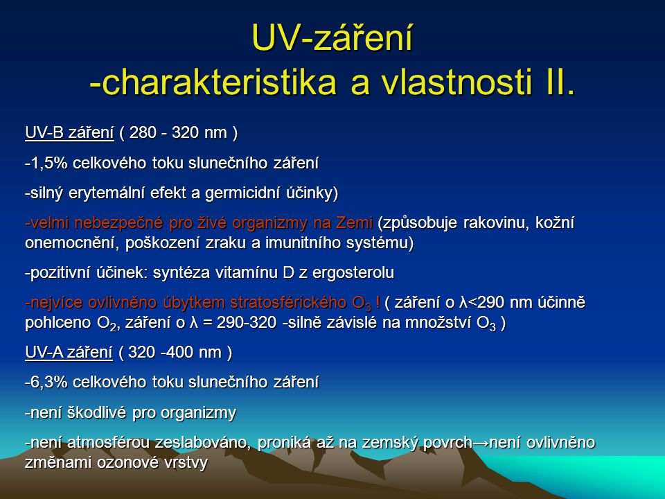 UV-záření -charakteristika a vlastnosti II.