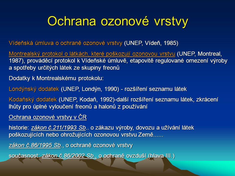 Ochrana ozonové vrstvy Vídeňská úmluva o ochraně ozonové vrstvy (UNEP, Vídeň, 1985) Montrealský protokol o látkách, které poškozují ozonovou vrstvu (UNEP, Montreal, 1987), prováděcí protokol k Vídeňské úmluvě, etapovitě regulované omezení výroby a spotřeby určitých látek ze skupiny freonů Dodatky k Montrealskému protokolu: Londýnský dodatek (UNEP, Londýn, 1990) - rozšíření seznamu látek Kodaňský dodatek (UNEP, Kodaň, 1992)-další rozšíření seznamu látek, zkrácení lhůty pro úplné vyloučení freonů a halonů z používání Ochrana ozonové vrstvy v ČR historie: zákon č.211/1993 Sb..