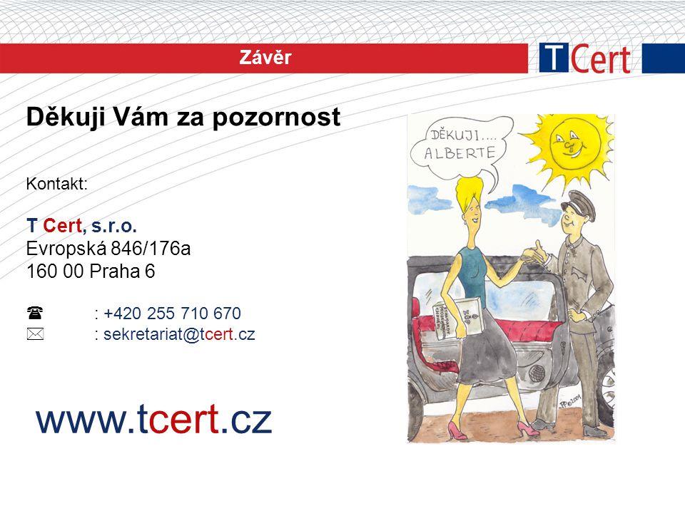 Závěr Děkuji Vám za pozornost Kontakt: T Cert, s.r.o. Evropská 846/176a 160 00 Praha 6  : +420 255 710 670  : sekretariat@tcert.cz www.tcert.cz