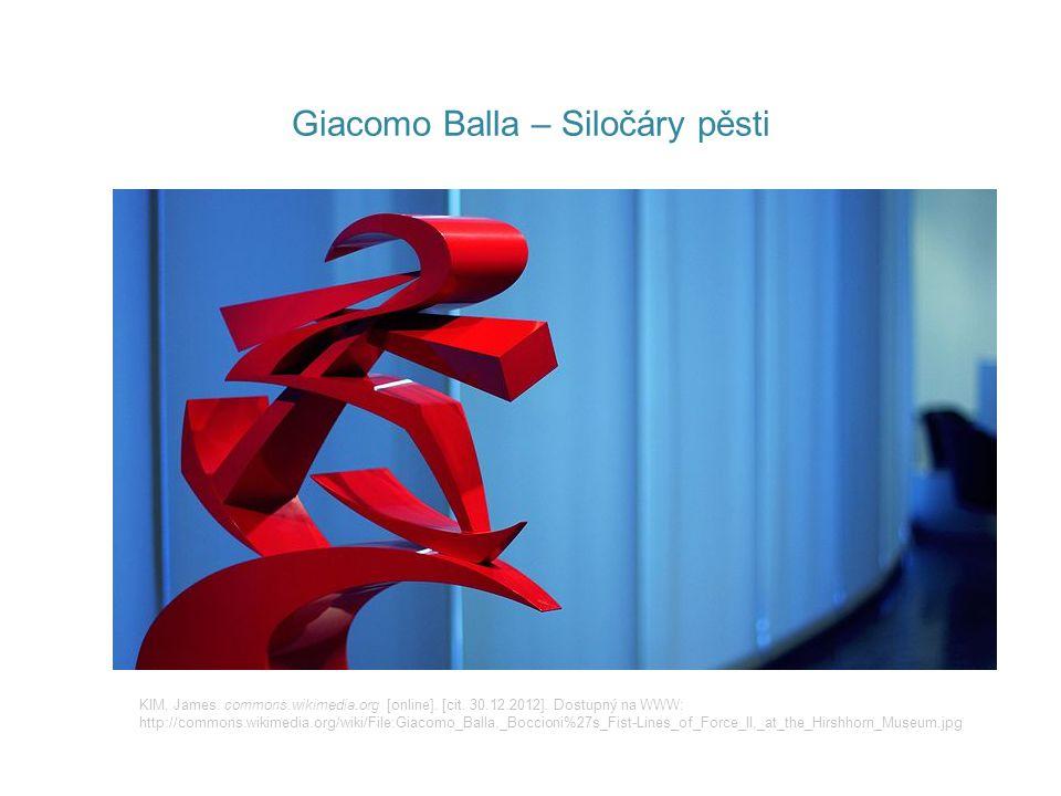 Giacomo Balla – Siločáry pěsti KIM, James. commons.wikimedia.org [online]. [cit. 30.12.2012]. Dostupný na WWW: http://commons.wikimedia.org/wiki/File: