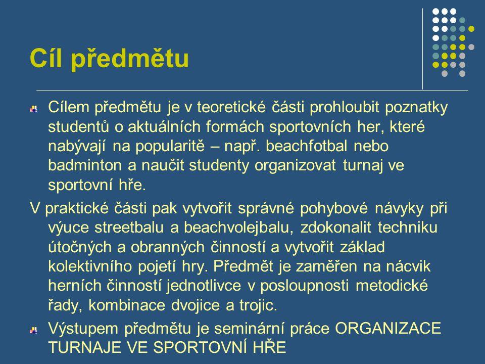 Cíl předmětu Cílem předmětu je v teoretické části prohloubit poznatky studentů o aktuálních formách sportovních her, které nabývají na popularitě – na